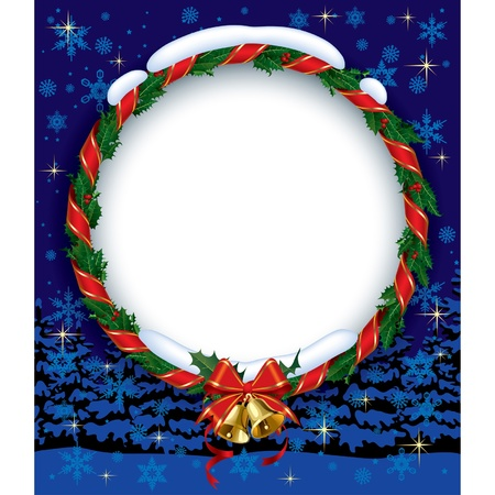 Vector image of the snowbound Xmas green holly wreath with a red ribbon and gold bells on the blue background Stock Vector - 16415640