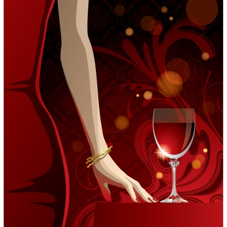 woman drinking wine: Vector glass of red wine and woman