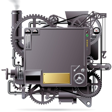 Vector isolated image of the complex fantastic machine with gears, levers, pipes, meters, production line, flue and lifting crane
