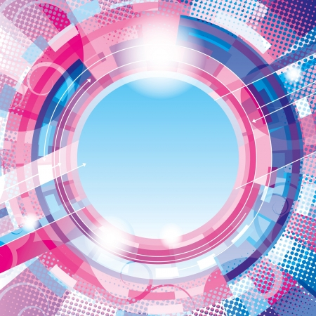 Vector abstract pink-blue techno circle background with place for your text