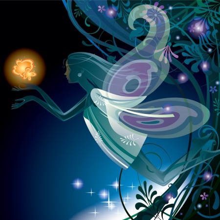 luminescent: Vector image of a transparent fairy girl with orange flower on vegetable background in night Illustration