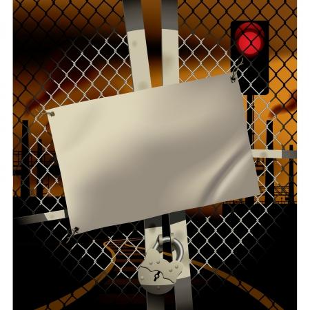 smoke stack: Vector immagine del cancello di metallo chiuso con cartello stagno, rete metallica, lucchetto in un fascio faro sullo sfondo arancione industriale con ciminiere, ferroviarie e un semaforo con il segnale rosso Vettoriali