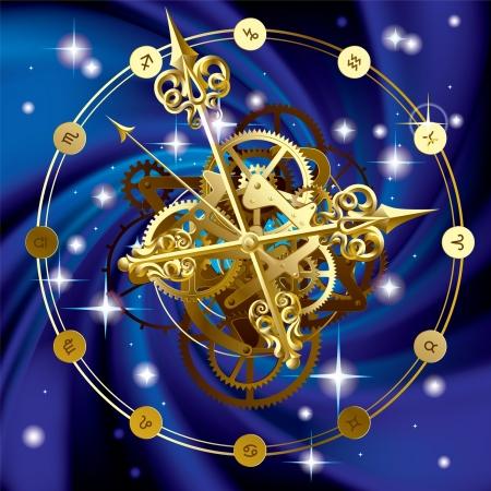 cielo estrellado: Imagen vectorial de reloj redondo de oro con agujas de las horas de decoraci�n, ruedas dentadas y s�mbolos zodiacales en cielo estrellado Vector Eps 10