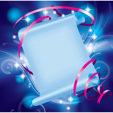 starry: Vector image of fairy paper banner with pink ribbon on a luminous blue starry background with decorative elements
