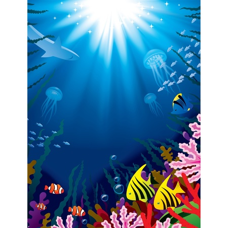 Vector illustration with underwater world of the tropical sea, coral reefs, colored fishes and bright beams of sunlight penetrate and shine through the 