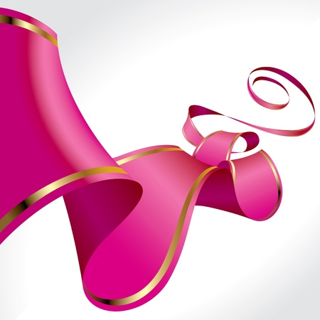 pink ribbon: Vector Christmas, New Years & Valentine greeting background with a curled pink ribbon in perspective  Illustration