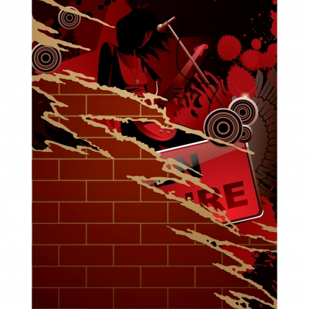 laceration: Vector torn paper musical poster with girl playing the guitar on a brick wall