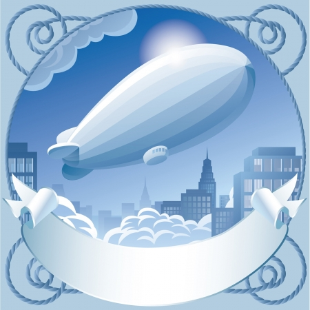 Vector image of retro label with a zeppelin in sky flying over the town Stock Vector - 16415617