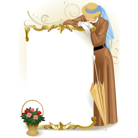 Vector image of vintage gold framed poster with standing woman in retro brown dress and basket with roses