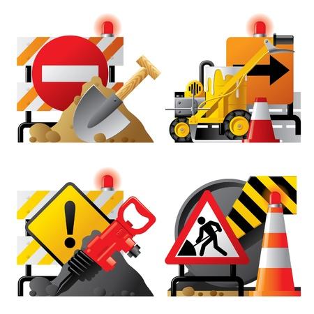 seguridad laboral: Vector conjunto de iconos con letreros viales y herramientas Vectores