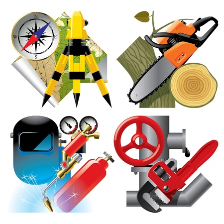 geodesy: Vector set of detailed job occupation icons with tools and equipment