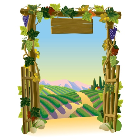 Vector image of the vintage wooden gate with grapes and sunlit vineyard with a road against a background