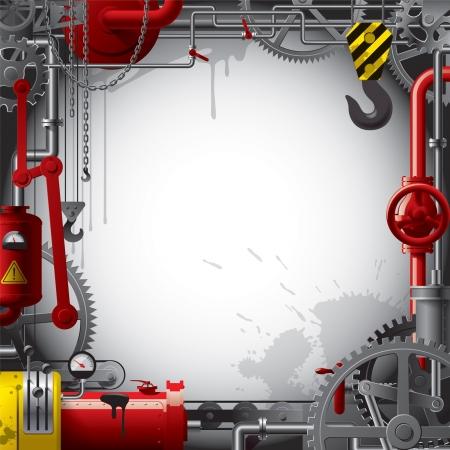 f�brica: Engenharia Fundo do vetor com engrenagens, alavancas, canos, medidores, linha de produ Ilustra��o