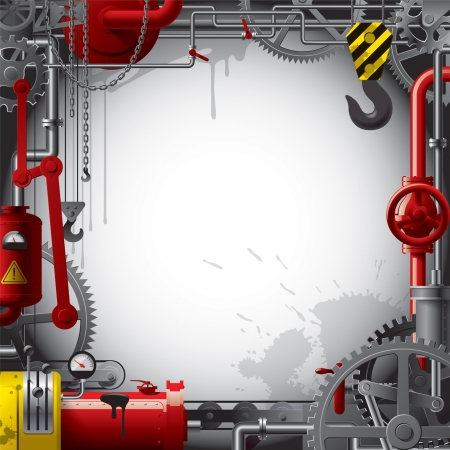 Vector engineering background with gears, levers, pipes, meters, production line, flue and lifting crane