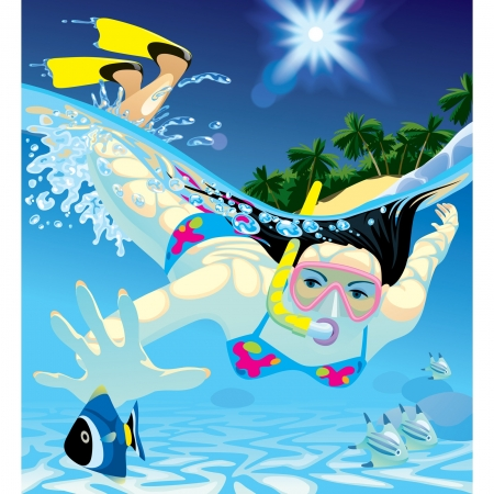 diving mask: Vector image of young women catching a fish with a snorkel and a diving mask at snorkeling in the Sea
