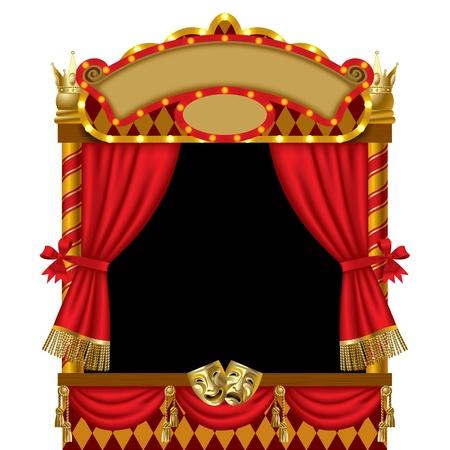 marionetta: Immagine vettoriale della cabina illuminata spettacolo di burattini con maschere teatrali, tenda rossa e insegne