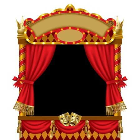 Vector image of the illuminated puppet show booth with theater masks, red curtain and signboards Çizim