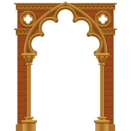 Vector isolated frame in form of the stone decorated gothic arch Çizim