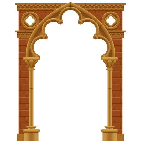 arcos de piedra: Vector marco aislado en forma de arco gótico de piedra decorado