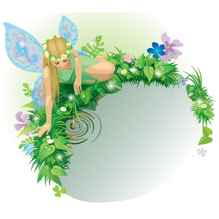 Vector greeting card with a fairy girl with blue wings seated near the water bordered by dewed plants and flowers 일러스트