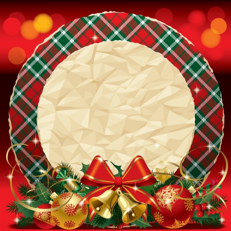 crumpled paper ball: Vector round Xmas card with the tartan pattern, red ribbon, gold bells and crumpled paper on the red shining background
