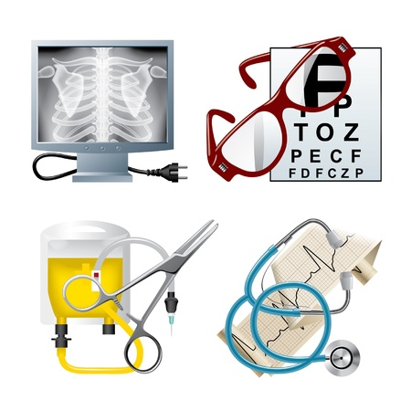 radiography: Vector set of medical icons