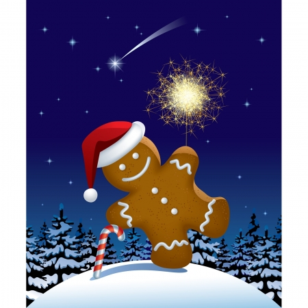 Vector illustration of gingerbread man wih a sparkler in winter fir forest in the night Çizim