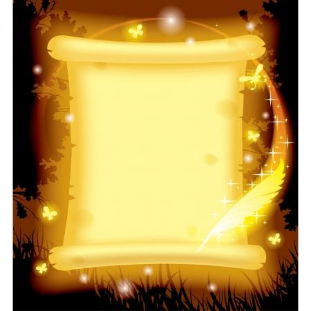 Fairy pergamino amarillo brillante con mariposas luminosas y pluma mágica contra un fondo de bosque en la noche Ilustración de vector