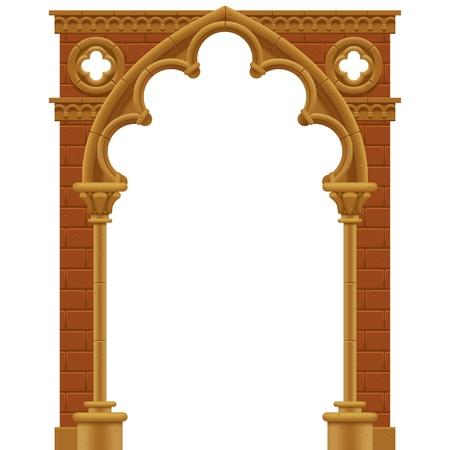 フレーム石の形で飾られたゴシック様式アーチ