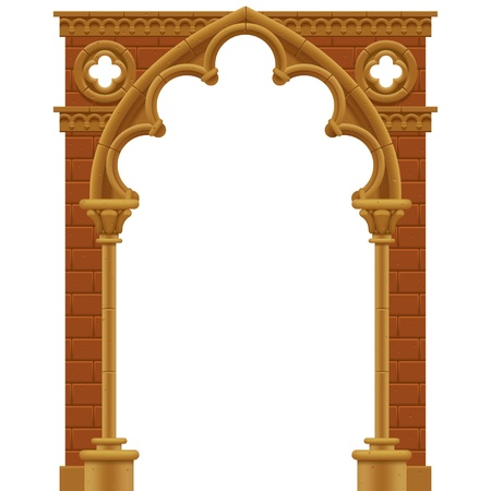 Frame in form of the stone decorated gothic arch Çizim