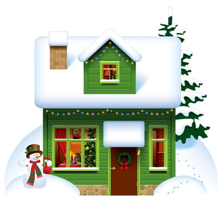 Vector image of the green wooden christmas house covered with snow with snowman and spruce Illustration