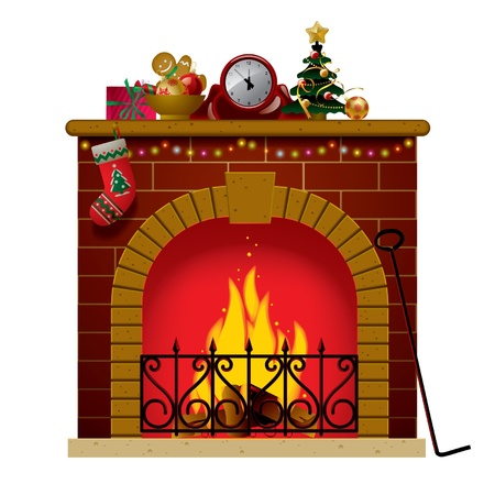Vector image of the fireplace with a clock and christmas decoration