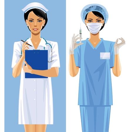 uniforme medico: Vector de imagen de dos enfermeras en un uniforme m�dico
