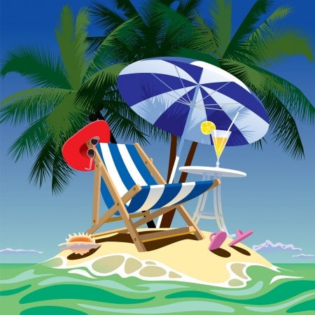 Vector image of tropical island with beach chair, umbrella and table, fruity cocktail, red hat and shell under the palms