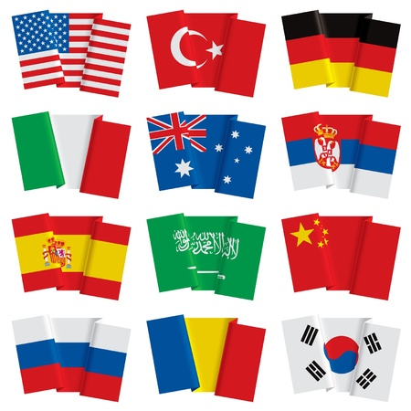 romania flag: Vector set of world flags