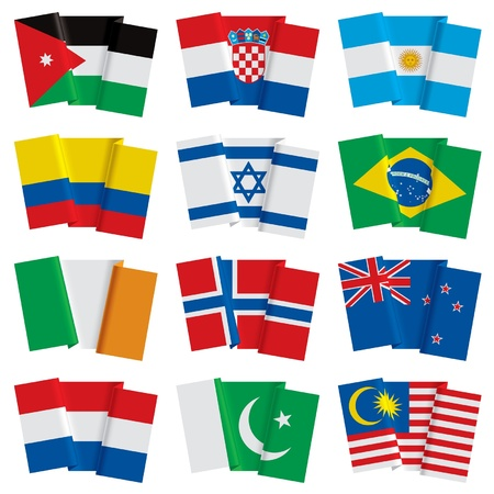 bandera de nueva zelanda: Vector conjunto de banderas del mundo Vectores