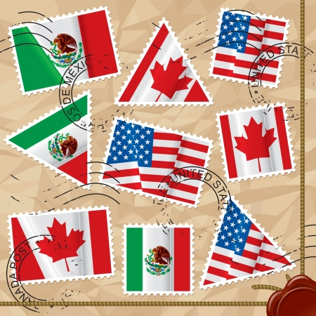 Vector set of postage stamps of various shapes with world flags on the crumpled paper background with seals  Vector