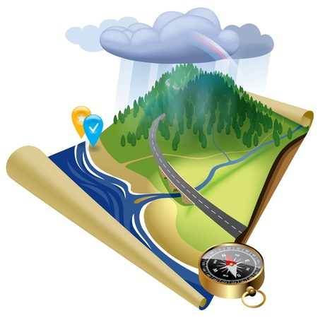 Vector kaart van de plaats met het reliëf, wolken en navigatiepictogrammen Stock Illustratie