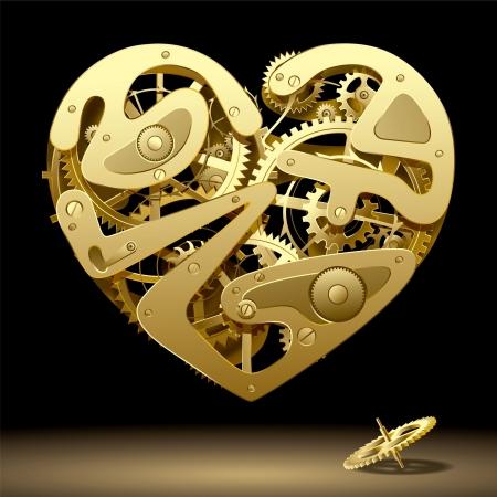mechanical: Vector afbeelding van gouden uurwerk hart op de zwarte achtergrond met een rondsel bevat de het Knippen Weg