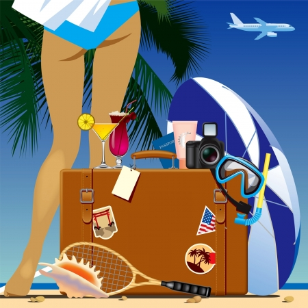Vector image of the travelling bag with vacation accessories against a tropical background with an airplane in the sky Illustration