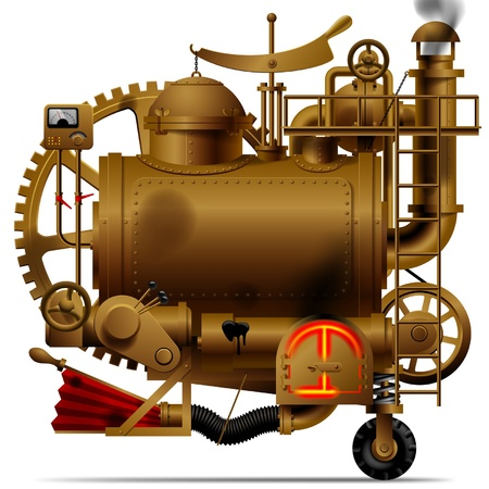 flue: Vector isolated image of the complex fantastic machine with steam boiler, gears, levers, pipes, meters, furnace and flue