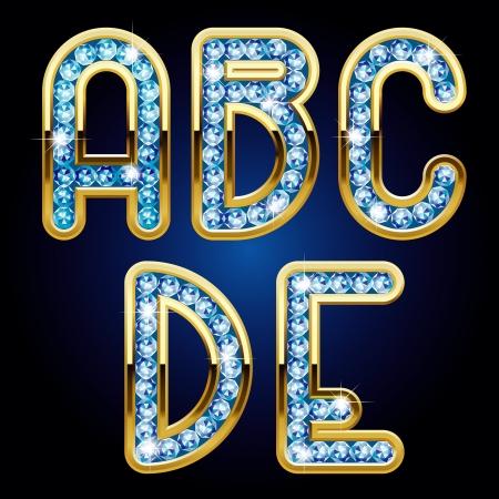 Versión aislada de la trama vector de imagen de oro y de diamantes letras mayúsculas del alfabeto de (contenga el camino de recortes) Foto de archivo - 20237525