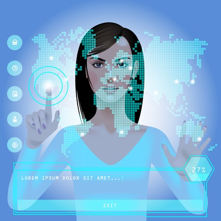 indicator board: Girl in front of a blue glowing digital world map with web icons and panel. Modern technology template. Vector Illustration