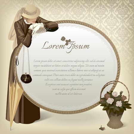 mode retro: Vector uitstekend beeld van een staande vrouw in bruine jurk met handtas, paraplu, grote ronde spiegel en een mand met rozen op een tafel. Retro mode-sjabloon. Vector Illustratie