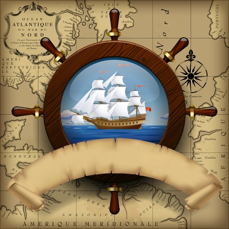 Steering wheel, sailing boat in the sea and parchment ribbon on old chart background.  Navigation travel template. Vector Illustration Ilustracja