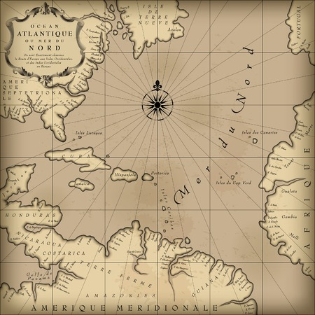 compass rose: Old geographic map of Atlantic ocean region lands in a free interpretation with text. Vintage chart background. Contain an upper transparent texture what can be easily separated from the map image. Vector Illustration