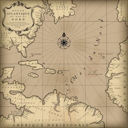 rosa dei venti: Vecchia mappa geografica di Atlantic terre regione oceano in una libera interpretazione con il testo. Grafico Sfondo vintage. Contengono una consistenza superiore trasparente ciò che può essere facilmente separata dalla mappa immagine. Illustrazione vettoriale
