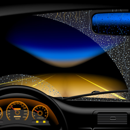 Night highway in rain from inside of the car Vectores