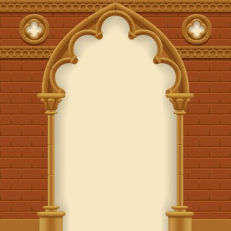 arcos de piedra: Arco de piedra y la pared gótico. Marco de la arquitectura de la antigüedad. Ilustración vectorial Vectores