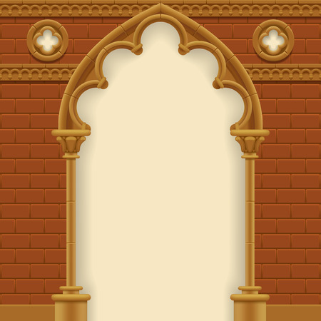 Stone gothic arch and wall. Antique architecture frame.  Vector Illustration